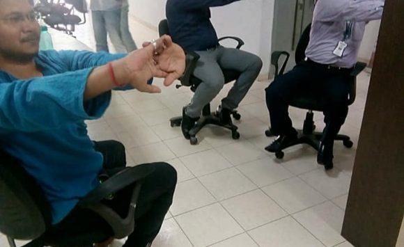 Chair Yoga Program for Bank employs at Yes bank Kunda Branch , U.P.